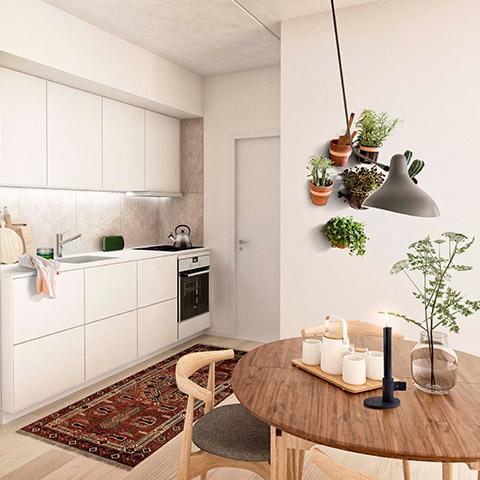 indretning af køkken med spiseplads